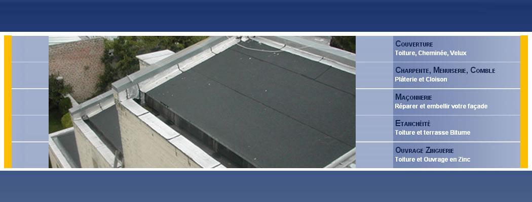 <blockquote>Etanchéité (toiture bitumé). charpente en bastings, panneaux hydrofuge pour support de la membrane, première couche de bitume, deuxième couche de bitume granulé avec choix de la couleur et de l'apparence</blockquote>